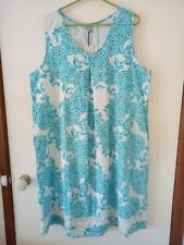 Sz 18 Resort / Jendi Turquoise & White Floral Summer Dress - NWT