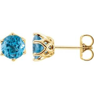 14k Yellow Gold Swiss Blue Topaz Round 6 Prong Woven Earrings