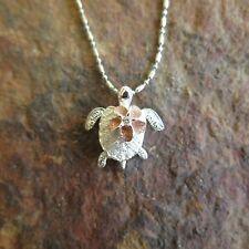Hawaiian Jewelry 925 Sterling Silver Turtle with Plumeria Flower Pendant SP21908