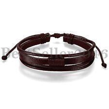 Fashion Men's Women's Brown Leather Cuff Bangle Wristband Cool Classic Bracelet