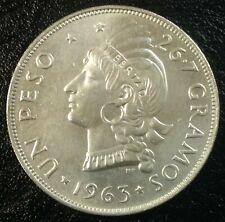 DOMINICAN REPUBLIC 1 Peso 1963  Silver 100th Anniversary of the Restoration