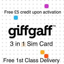 GIFFGAFF SIM MICRO NANO STANDARD £5 FREE CREDIT IPHONE 4 4S 5 5S 5G 6 6s 6S 7s 7