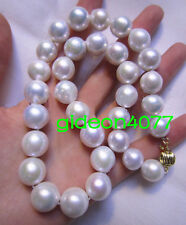 """18"""" AAAA 12-15MM Round SOUTH SEA NATURAL White Edison PEARL NECKLACE 14K  GOLD"""