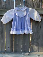 Vintage Baby Girl Polly Flinders Floral Prairie Boho Smocked Ruffle Dress 18 Mth