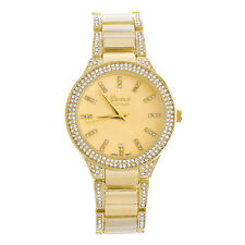 Lady's Women's Luxury CZ Iced Gold Plated Metal Watches WM 4945 G