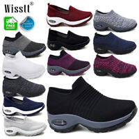 UK Women's Gym Sport Trainers Air Cushion Wedge Sneaker Ladies Casual Shoes Size
