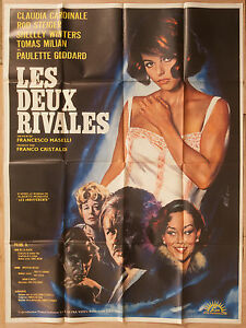 "'LES DEUX RIVALES' FRENCH 1967 CINEMA POSTER FEAT.CLAUDIA CARDINALE 63"" x 47"""