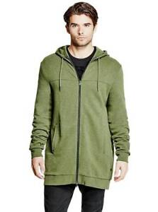 NWT $115 Guess Men's Olive Green Long Full Zipper Cotton Hoodie Sweater Size L