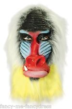 Adult Babboon Monkey Ape Rubber Mask Animal Halloween Fancy Dress Costume Outfit