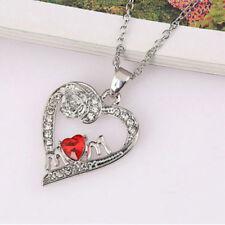 Chaud Vogue Couleur rouge cristal fleur de coeur argent plaqué collier pendentif