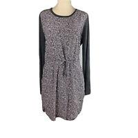 LOU & GREY Size XS Long Sleeve Dress Cinch Tie Waist Back Zip Gray Rayon EUC
