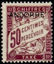 "ANDORRE FRANCAIS STAMP TIMBRE TAXE N° 4 "" TIMBRE DE 1893 50c "" NEUF xx TTB"