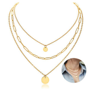 Gold Plated Stainless Steel Layered Choker Necklace Women Chain Valentine's Gift