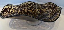 Large Leopard Art Glass Bowl