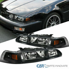 For Acura 90-93 Integra Black 1PC Headlights Driving Lights Head Lamps Pair