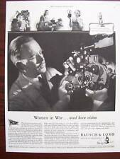 1944 Bausch & Lomb Women in War Need Keen Vision Advertisement