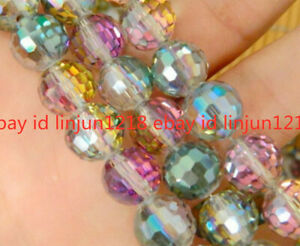 Rare 20pcs 12mm Faceted Round Multicolor Crystal Loose Bead B-005