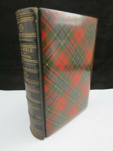 Rare Antique Victorian 1865 McLean Tartan Ware Holy Bible Printed In Glasgow