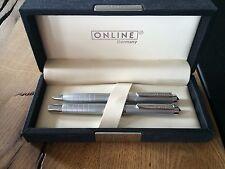 ONLINE Germany Set Füllhalter + Kugelschreiber silber mit Geschenkverpackung
