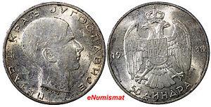 Yugoslavia Petar II Silver 1938 50 Dinara XF Condition KM# 24 (7165)