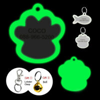 Glow in Dark Personalized Dog Tag No Noise Pet Dog Name ID Tags Free Engraved