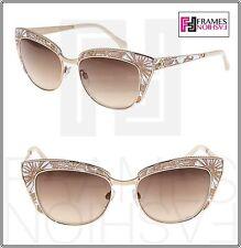 ROBERTO CAVALLI SUALOCIN Cat Eye 978S White Gold Print Metal Mirrored Sunglasses