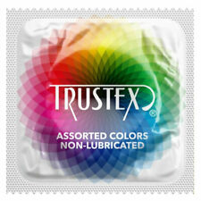 TRUSTEX Assorted Colors Non-Lubricated Condoms ~ 100 PACK ~