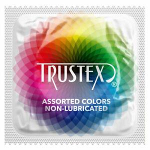 TRUSTEX Assorted Colors Non-Lubricated Condoms ~ 100 PACK ~