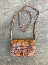 Genuine Snakeskin Python Boa Leather Handmade Rustic Crossbody Handbag Brown