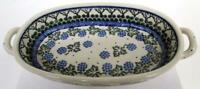 """Polish Pottery Hand Painted Baking Dish Blue/Green on Ivory 8""""x5""""x1 3/4"""" AW195"""