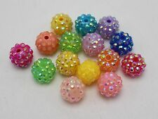 20 Pcs Mixed Colour Acrylic Rhinestone Pave DISCO Ball Beads 14mm Spacer