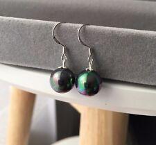 schwarze Tahiti Perlen Ohrringe mit 925 Sterlingsilber & 12mm Muschelkernperlen