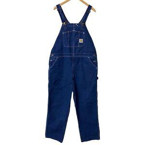 Carhartt Mens 42x32 Denim Blue Carpenter Bib Jean Overalls R07 DST Made in USA