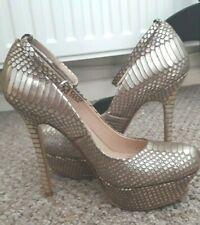 Women  Dune Gold  Platform  High Heels Strap Ankle Shoe Size: 4