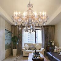 10 Arms Chandelier K9 Crystal Glass Ceiling Light E12 Pendant Lamp Cognac Color