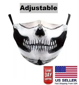 Skull Face Mask Adjustable Washable 3D Print Biker Halloween US Seller Fast Ship