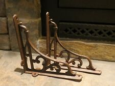 "4 MEDIUM BROWN 6.5/"" SHELF BRACKETS ANTIQUE-STYLE RUSTIC CAST IRON-SHELL DESIGN"