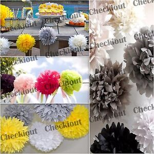 "MIXED SIZE 4"" 8"" 12"" Tissue Paper Pom-poms Flowers Wedding Party DIY Decoration"