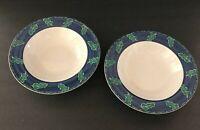 "Christopher Stuart Gallery Rimmed Soup Bowl 8.5"" Across Blue Green Rim Set of 2"
