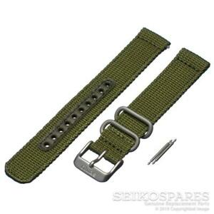 Seiko Watch Strap for 5 SNK805 SNK811 7S26-02J0 18mm Green Nylon Fabric Band