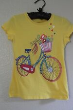 The Childrens Place Youth Girls Sparkle Bicycle T Shirt Size Large 10/12 Yellow