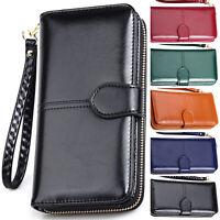 Womens Leather Wallet Long Zip Purse Card Phone Holder Case Bag Clutch Handbag