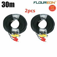 2-Pack 100ft Security Camera Video Power Cable BNC Wire Cord for DVR CCTV System