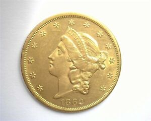1862 LIBERTY GOLD $20 CHOICE UNCIRCULATED ONLY 4,430 MINTED ONLY 150-200 REMAIN