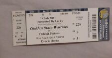 Golden State Warriors Vs Detroit Pistons 3/13/13 unused Ticket