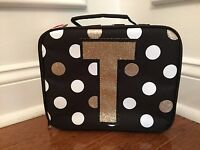 f4afac8cb47 Justice Black White Gold Polka Dot Stripe Initial T Lunch Box Tote New!