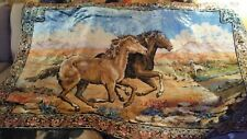 "Vintage Maruzzella HORSE/HORSES Running Tapestry Wall Hanging Italy 65""x45"""