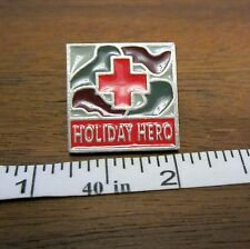 Holiday Hero Red Cross Lapel Pin Maroon Green Red Brass Badge Logo Button