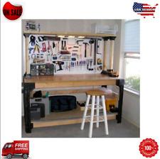 Workbench Garage Shop Work Table Wood Shelves Legs Links Heavy Duty Diy Storage