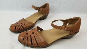 Clarks Wendy River Brown Leather Ankle Strap Sandals US 10M EU 41.5 UK 8
